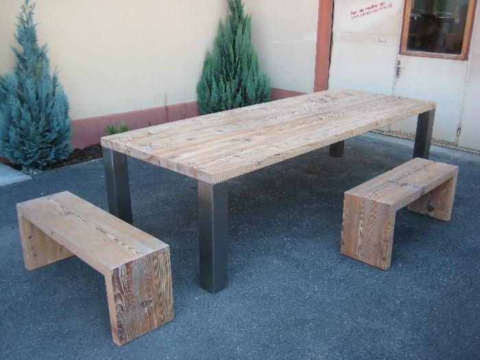 travaux sur bois s rl nos travaux en images la table tr s vieux sapin blanchi menuiserie. Black Bedroom Furniture Sets. Home Design Ideas